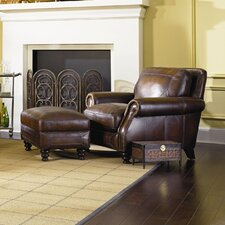 <strong>Simon Li</strong> Ashland Leather Armchair and Ottoman