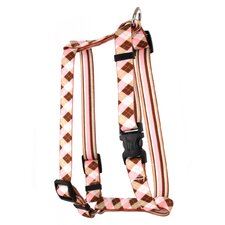Pink and Brown Argyle with Stripes Roman Harness