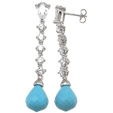 Pear Cut Turquoise Drop Earrings