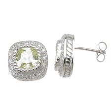 Emerald Cut Peridot Fashion Stud Earrings