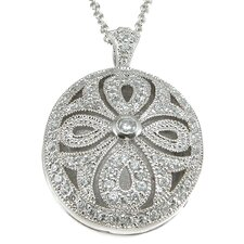 .925 Sterling Silver Brilliant Cut Cubic Zirconium Locket Pendant