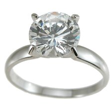 <strong>Plutus Partners</strong> .925 Sterling Silver Brilliant Cut Cubic Zirconia Solitaire Wedding Ring