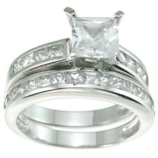 <strong>Plutus Partners</strong> .925 Sterling Silver Princess Cut Cubic Zirconia Solitaire Engagement Ring Set