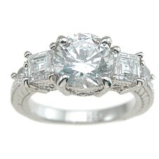 <strong>Plutus Partners</strong> .925 Sterling Silver Brilliant Cut Cubic Zirconia Engagement Ring