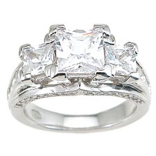 <strong>Plutus Partners</strong> .925 Sterling Silver Princess Cut Cubic Zirconia Wedding Ring