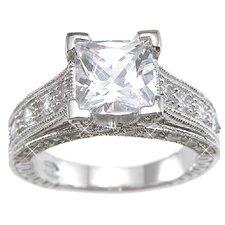 .925 Sterling Silver Emerald Cut Cubic Zirconia Wedding Ring