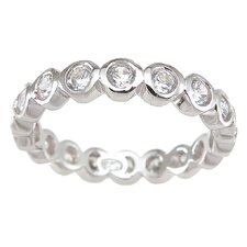 <strong>Plutus Partners</strong> .925 Sterling Silver Princess Cut Cubic Zirconia Eternity Ring