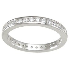 <strong>Plutus Partners</strong> .925 Sterling Silver Brilliant Cut Cubic Zirconia Eternity Ring