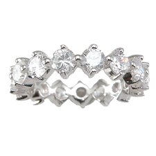 <strong>Plutus Partners</strong> .925 Sterling Silver Round Cut Cubic Zirconia Eternity Wedding Band