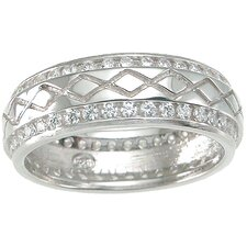 <strong>Plutus Partners</strong> Men's .925 Sterling Silver Brilliant Cut Cubic Zirconia Wedding Band Ring