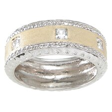 Men's .925 Sterling Silver Princess Cut Cubic Zirconia Wedding Band