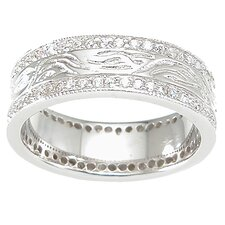 <strong>Plutus Partners</strong> Men's .925 Sterling Silver Brilliant Cut Cubic Zirconia Wedding Band