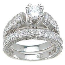 .925 Sterling Silver Brilliant Cut Cubic Zirconia Wedding Ring Set