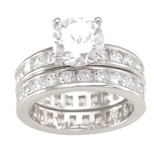 <strong>Plutus Partners</strong> .925 Sterling Silver Brilliant Cut Cubic Zirconia Double Eternity Wedding Ring Set