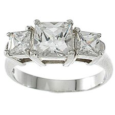<strong>Plutus Partners</strong> .925 Sterling Silver Princess Cut Cubic Zirconia Engagement Ring