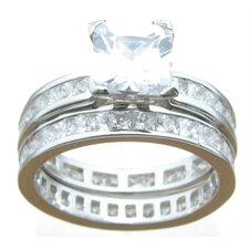 .925 Sterling Silver Princess Cut Cubic Zirconia Eternity Wedding Ring Set