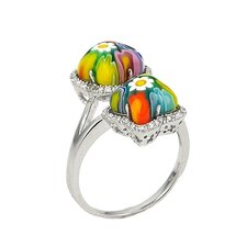 Millefiori Cubic Zirconia Accents Four Sided Star / Clover Glass Ring