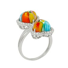 Millefiori Cubic Zirconia Accents Double Heart Glass Ring