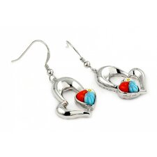 Millefiori Glass Fishhook Heart Drop Earrings