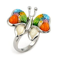 Millefiori Cubic Zirconia Accents Butterfly Glass Ring