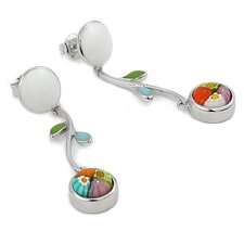 Millefiori Glass Flower Drop Earrings