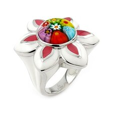 Millacreli Sterling Silver Flower Glass Ring