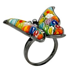 Millefiori Sterling Silver Butterfly Glass / Cubic Zirconias Ring
