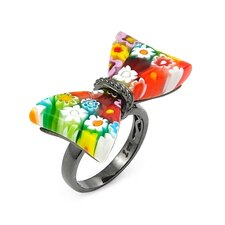 Millefiori Bow Tie Glass Ring