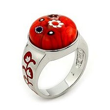Millefiori Sterling Silver Round Glass Ring
