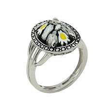Millefiori Sterling Silver Oval Shape Glass Ring