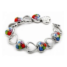 Millefiori Cut Out Heart Glass Link Bracelet