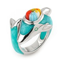 Millacreli Sterling Silver Dolphin Glass Ring