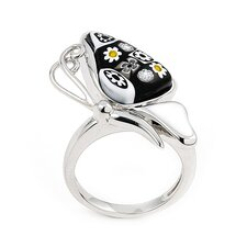 <strong>Plutus Partners</strong> Millefiori Sterling Silver Butterfly Glass Ring
