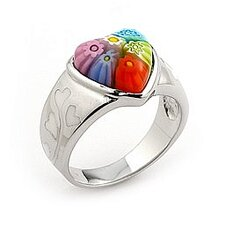 Millefiori Sterling Silver Heart Glass Ring