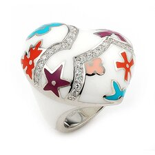 Designo Sterling Silver Curved Heart and Flower Cubic Zirconia Accents Ring
