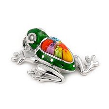 Sterling Silver Millacreli Glass Frog Pendant