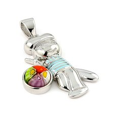 Sterling Silver Millefiori Glass Boy with Baseball Bat and Dangling Ball Pendant