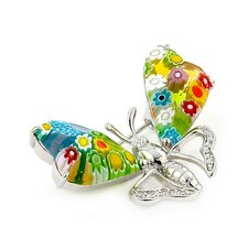 Millefiori Glass Butterfly Brooch Pin