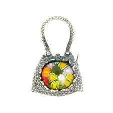Sterling Silver Millefiori Glass Purse Pendant