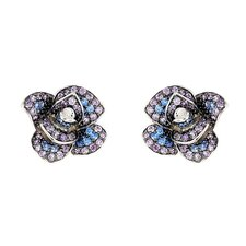 Ferroni Swarovski Elements Zirconia Rose Stud Earrings