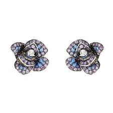 Ferroni Swarovski Elements Zirconia Rose Stud Earrings