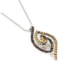 Ferroni Sterling Silver Marquise Swarovski Elements Zirconia Necklace