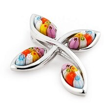 Sterling Silver Millefiori Glass Curved Cross Pendant