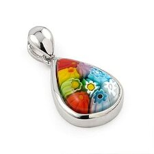 <strong>Plutus Partners</strong> Sterling Silver Millefiori Glass Drop Pendant