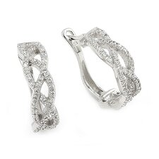 Braided Cubic Zirconia Hoop Earrings