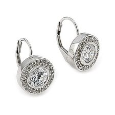 Round Cut Cubic Zirconia Hoop Earrings