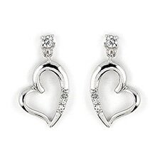 Curved Heart Cubic Zirconia Drop Earrings