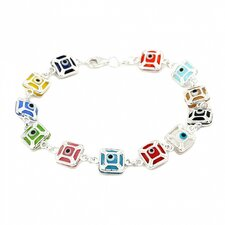 Square Glass Eye Link Bracelet