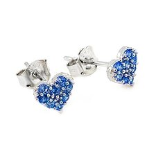 Heart Pave Cubic Zirconia Stud Earrings