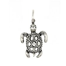 Plain Sterling Silver Sea Turtle Charm